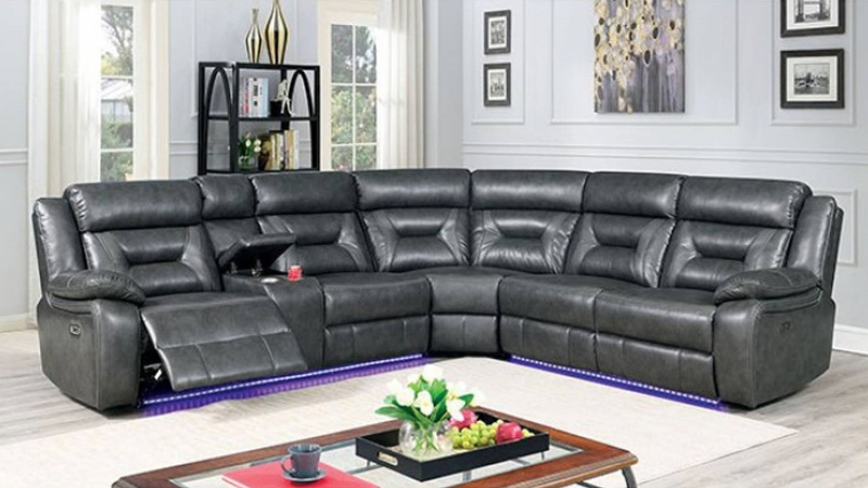 Omeet Sectional Sofa with Recliner in Gray