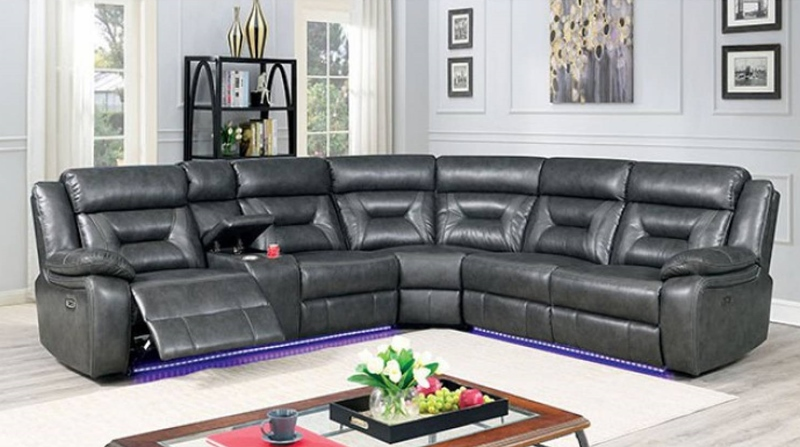 Omeet Sectional Sofa with Power Recliner in Gray