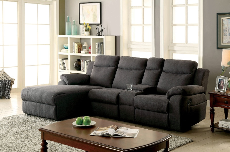 Kamryn Sectional Sofa with Console in Gray
