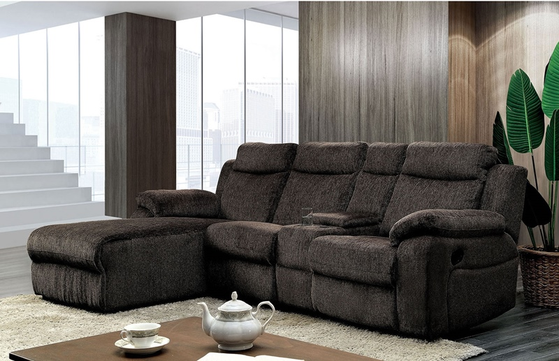 Kamryn Sectional Sofa with Console in Warm Gray
