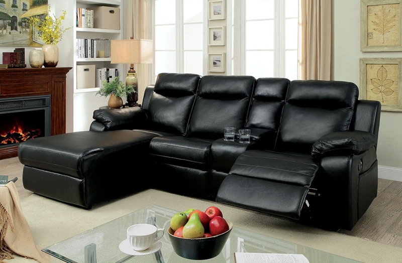 Hardy Sectional Sofa with Console in Black