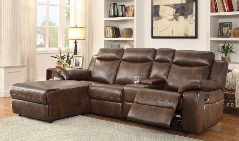 Hardy Sectional Sofa with Console in Brown