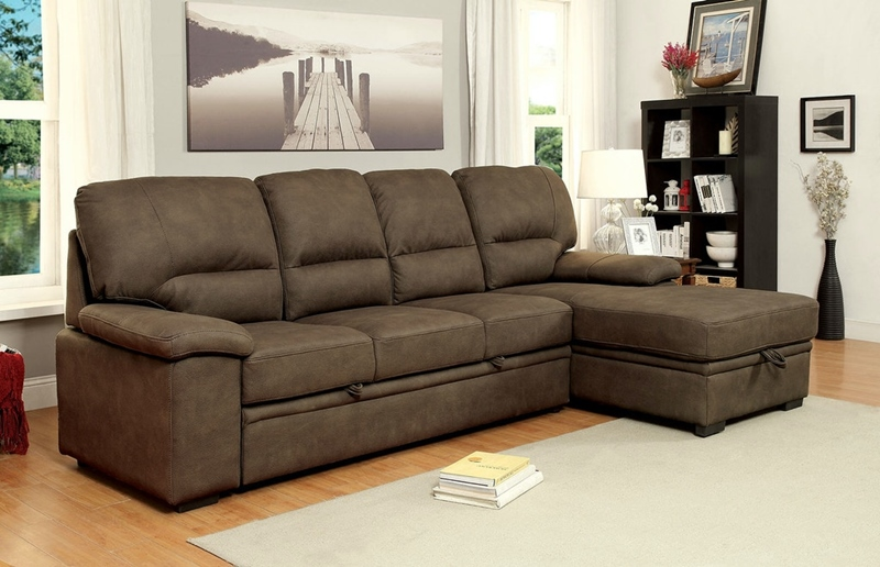 Alcester Sectional Sofa with Sleeper in Ash Brown