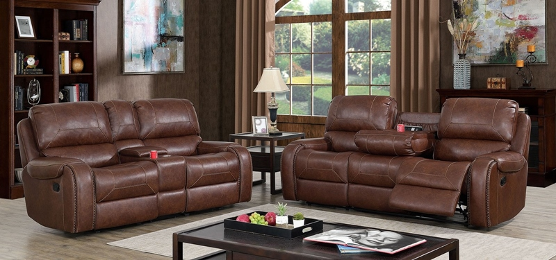 Walter Reclining Living Room Set in Brown