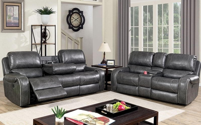 Walter Power Reclining Living Room Set in Gray
