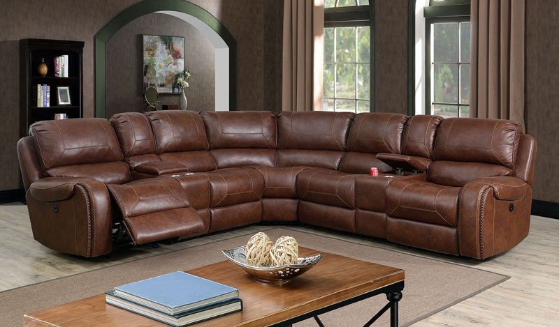 Joanne Sectional Sofa with Recliners in Brown