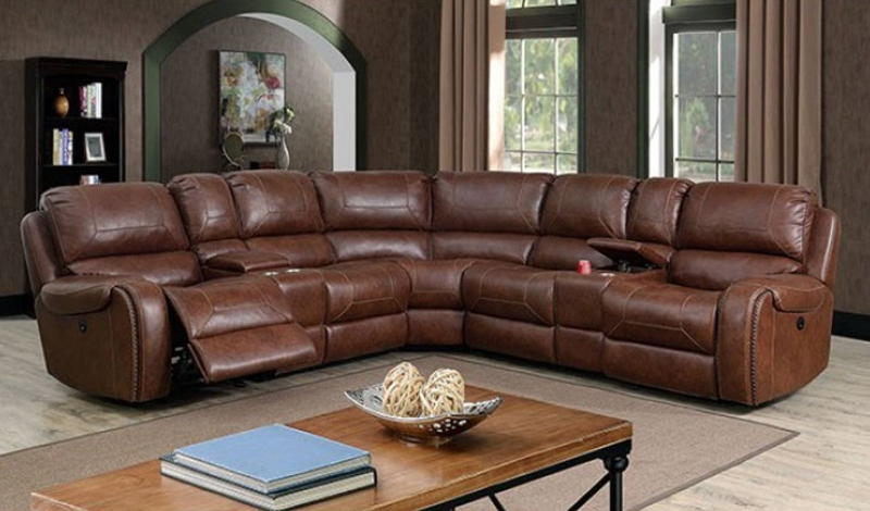 Joanne Sectional Sofa with Power Recliners in Brown