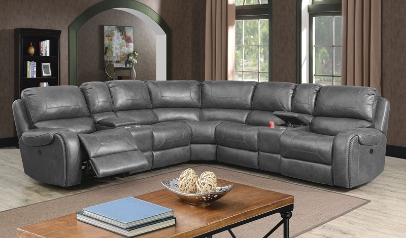 Joanne Sectional Sofa with Recliners in Gray