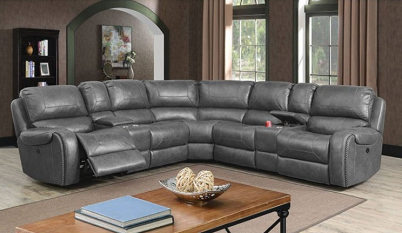 Joanne Sectional Sofa with Power Recliners in Gray
