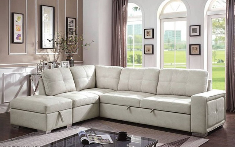 Risca Sectional Sofa with Sleeper in Beige