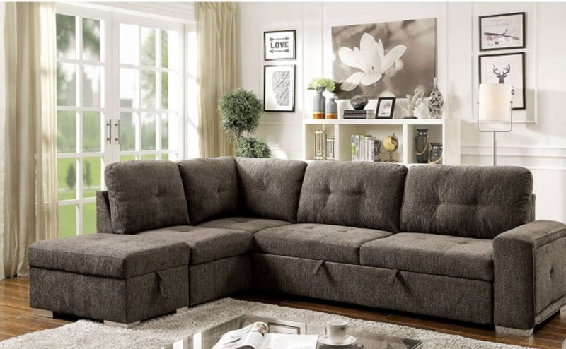 Risca Sectional Sofa with Sleeper in Gray