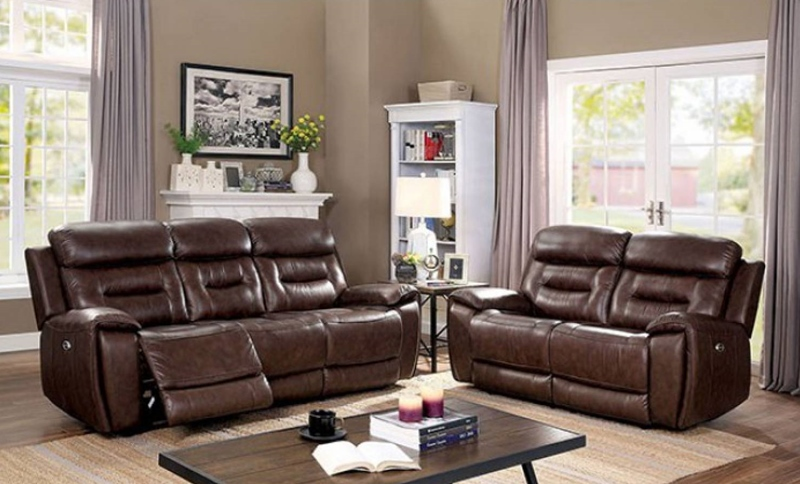 Victor Leather Reclining Living Room Set in Brown