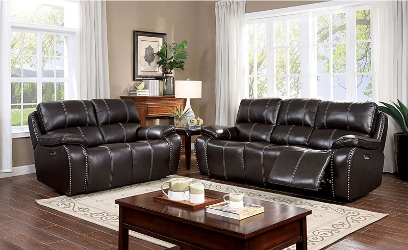 Eppi Leather Reclining Living Room Set in Dark Brown