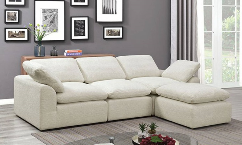 Joel 4 Seat Sectional Sofa in Cream
