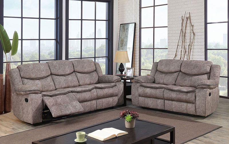 Pollux Reclining Living Room Set in Gray
