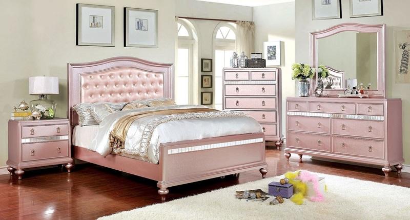Avior Youth Bedroom Set in Rose Gold