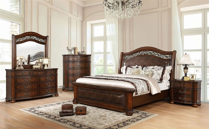 Janiya Bedroom Set in Brown Cherry