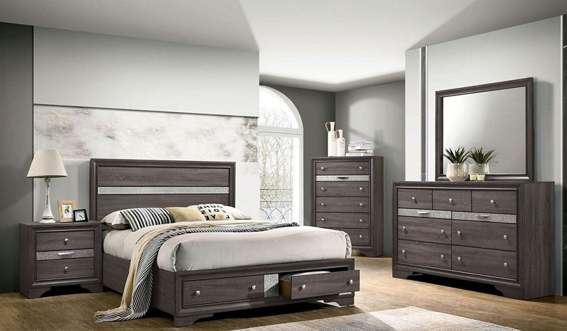 Chrissy Bedroom Set with Storage Drawers Gray
