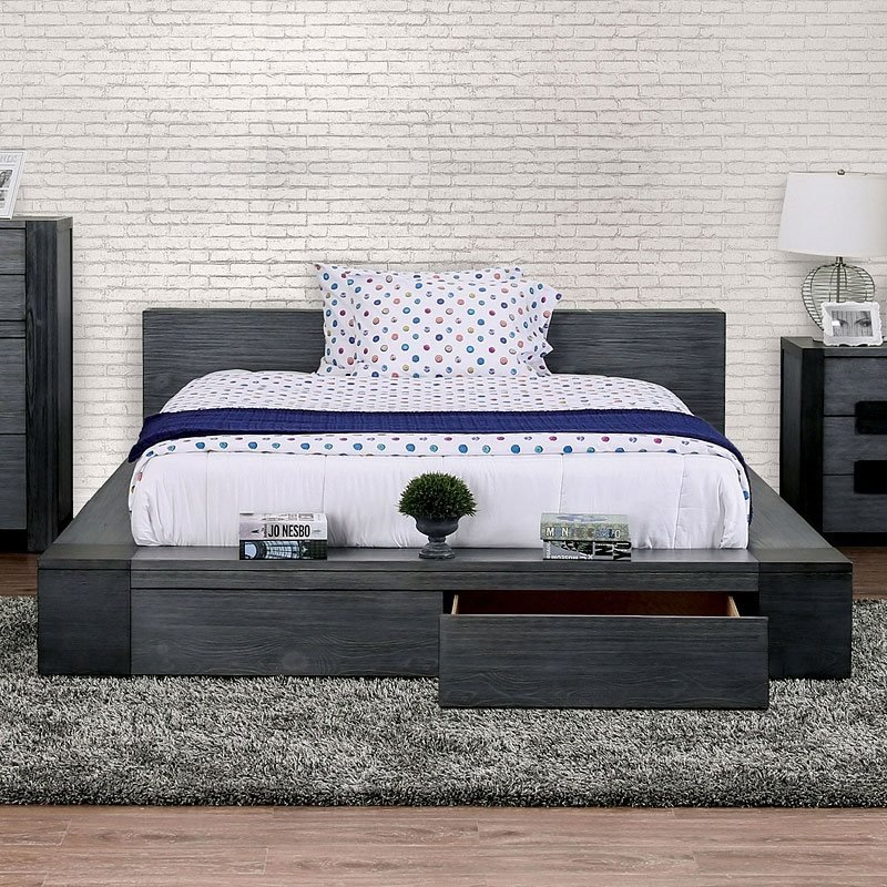 Janeiro Bedroom Set with Storage Bed in Gray