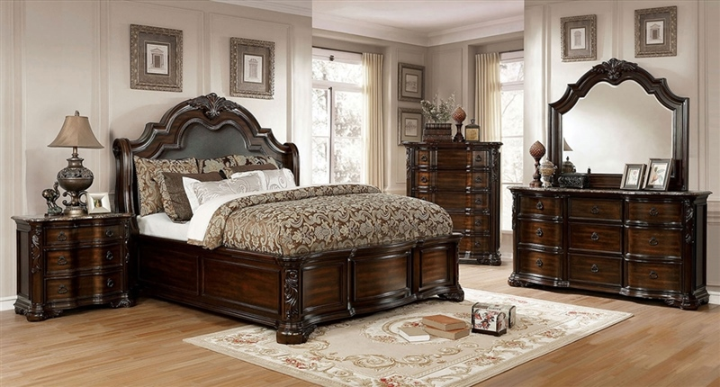 Niketas Bedroom Set in Brown Cherry
