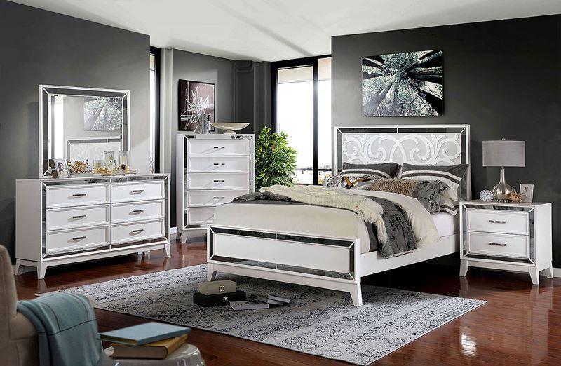 Lamego Hollywood Style White Bedroom Set