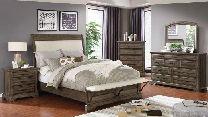 Gilbert Bedroom Set in Beige/Light Walnut