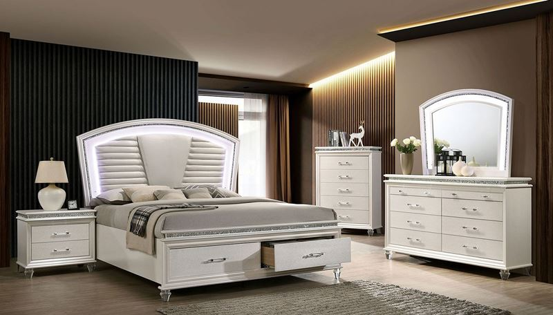 Maddie White Bedroom Set with LED Lights and Storage Bed