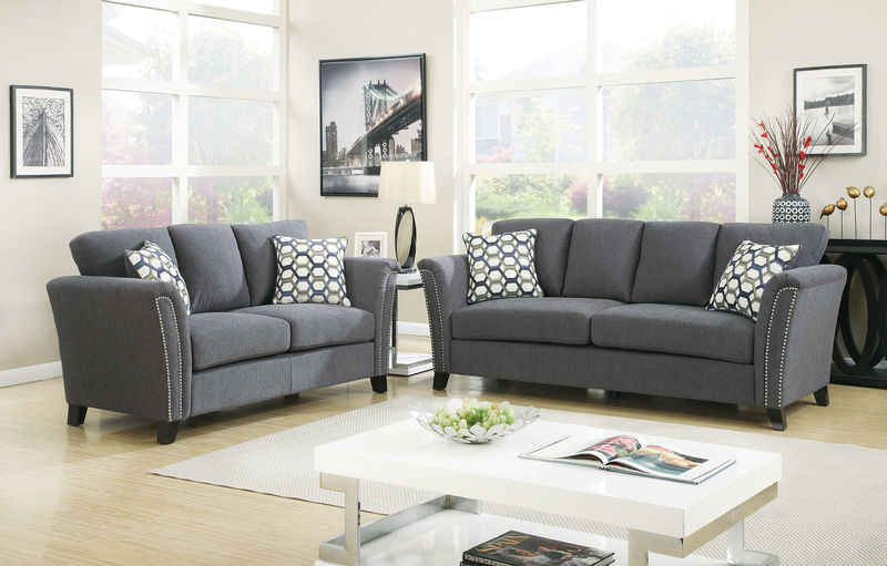 Campbell Living Room Set in Gray