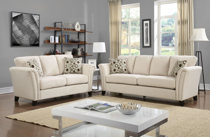 Campbell Living Room Set in Ivory