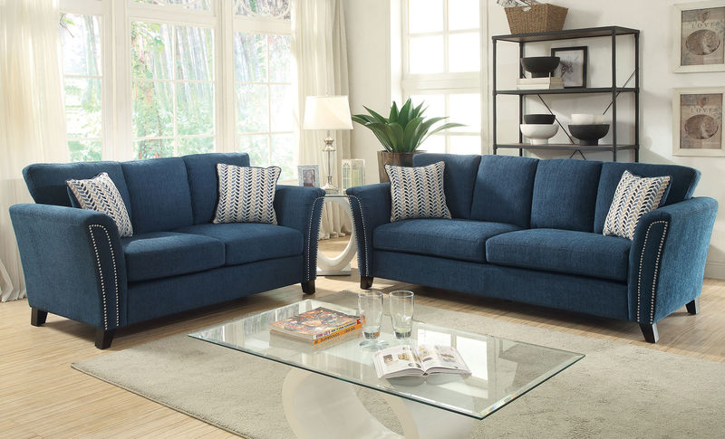 Campbell Living Room Set in Teal
