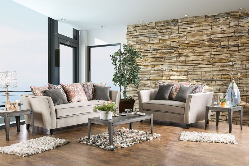 Chantal Living Room Set in Light Gray
