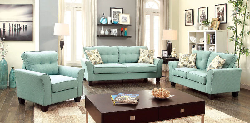 Claire Living Room Set in Blue
