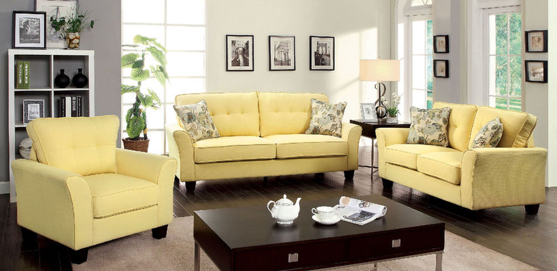 Claire Living Room Set in Yellow