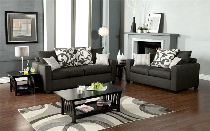 Colebrook Living Room Set in Charcoal