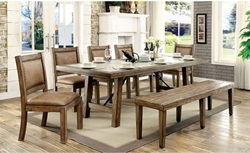 Colette Dining Room Set with Bench and Leatherette Chairs