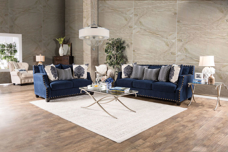 Cornelia Living Room Set in Navy