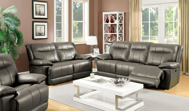 Dolton Reclining Living Room Set in Gray with Power Motion