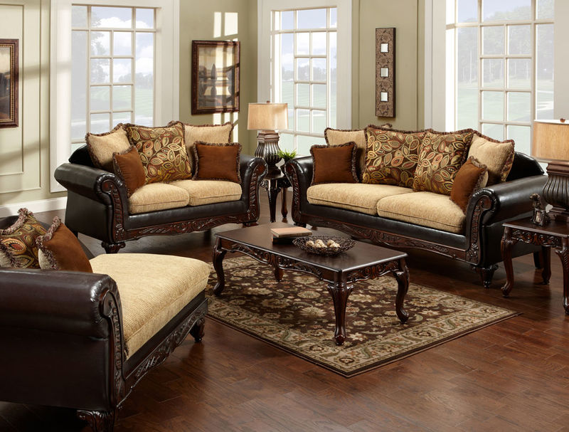 Doncaster Living Room Set in Tan/Espresso