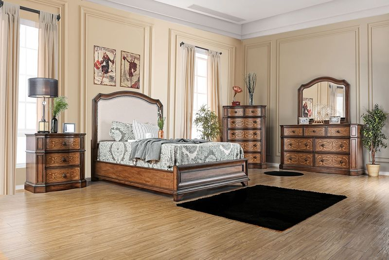 Furniture Of America Emmaline Bedroom Set With Upholstered Headboard