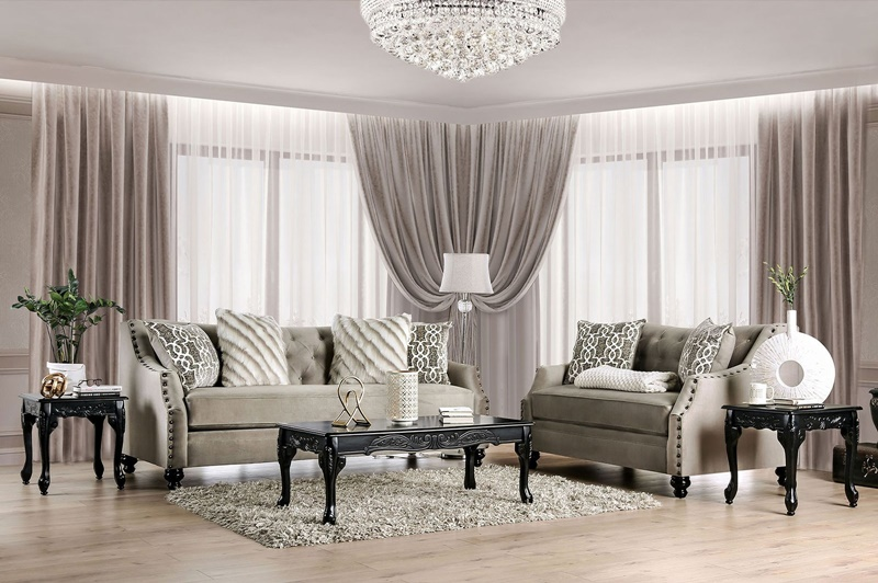 Ezrin Living Room Set in Light Brown