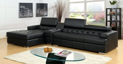 Floria Sectional with Speaker Console in Black