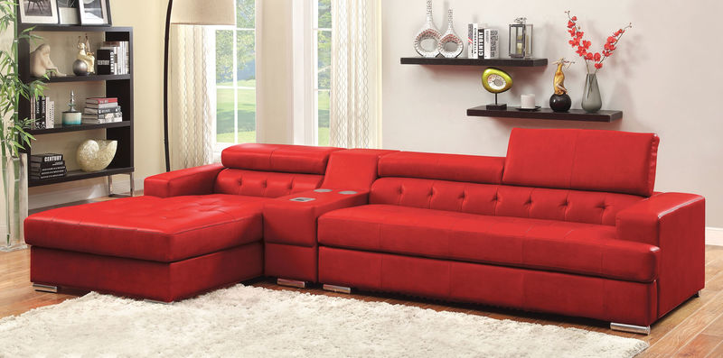Floria Sectional with Speaker Console in Red