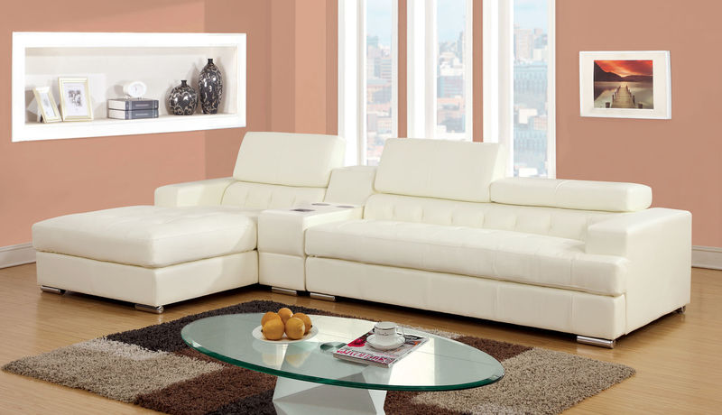 Floria Sectional with Speaker Console in White