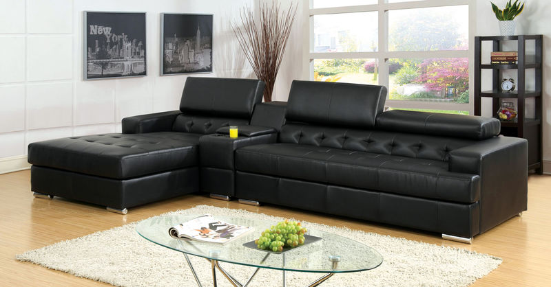 Floria Sectional with Storage Console in Black
