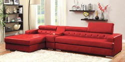 Floria Sectional with Storage Console in Red