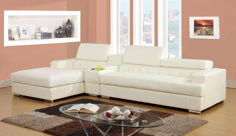 Floria Sectional with Storage Console in White
