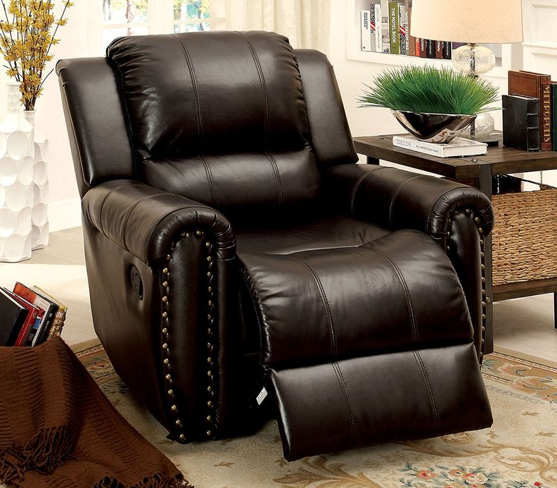 Dallas designer furniture foxboro reclining leather for Formal leather living room furniture