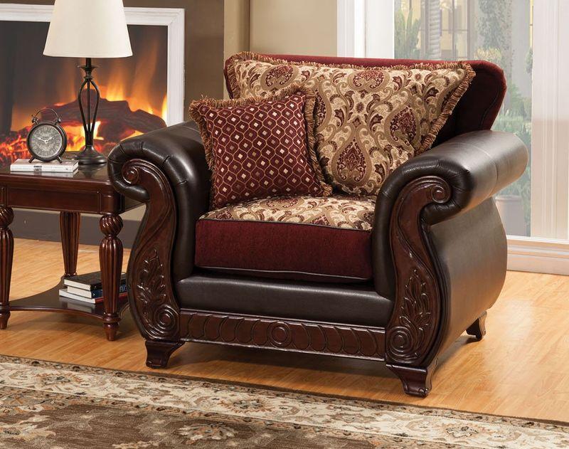 Dallas Designer Furniture Franklin Living Room Set In Burgundy With Sleeper