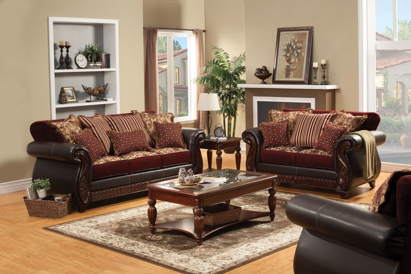 Franklin Living Room Set in Burgundy