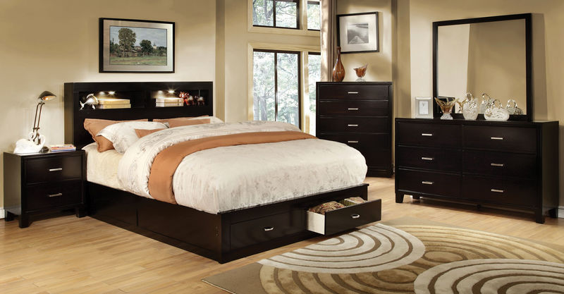 Gerico II Bedroom Set with Storage Bed in Espresso